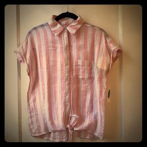 Old Navy Tie Front Pink Stripe Shirt XS NWT